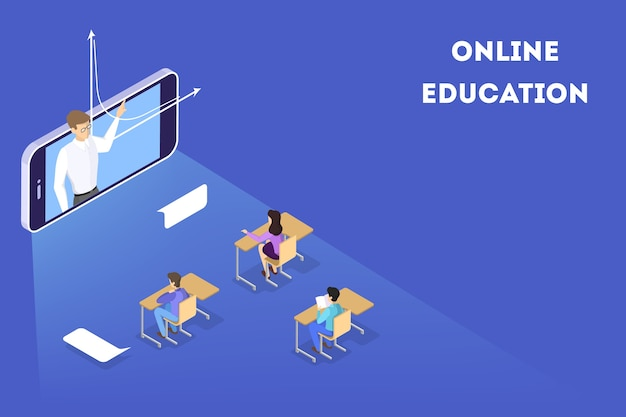 Concepto de educación. idea de aprendizaje y conocimiento. estudia en línea. ilustración isométrica