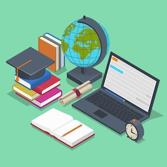 Concepto de educación isométrica. 3d fondo de regreso a la escuela en estilo plano. lápiz de objeto, elemento para lección, libro y portátil.