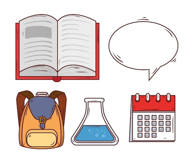 Concepto de educación, libro abierto con diseño de ilustración de vector de iconos de educación