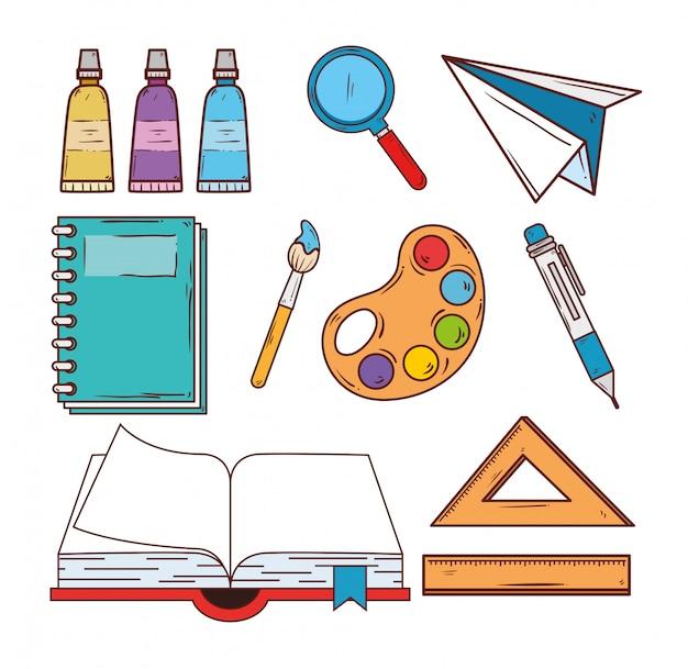 Concepto de educación, libro abierto con diseño de ilustración de vector de iconos de la escuela