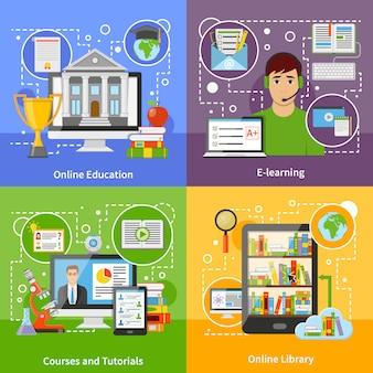 Concepto de educación en línea 4 iconos planos
