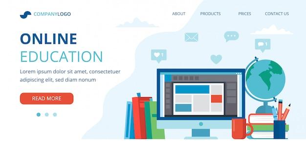 Concepto de educación en línea con una computadora, libros y globo.