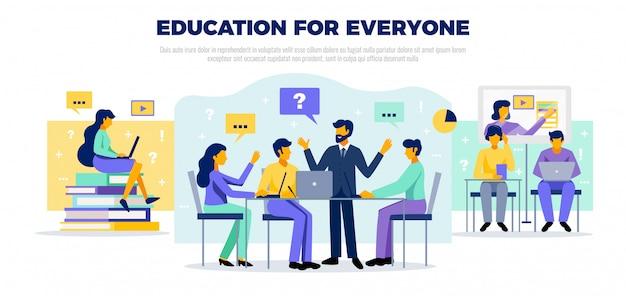 Concepto de educación en línea con educarion para todos los símbolos ilustración plana