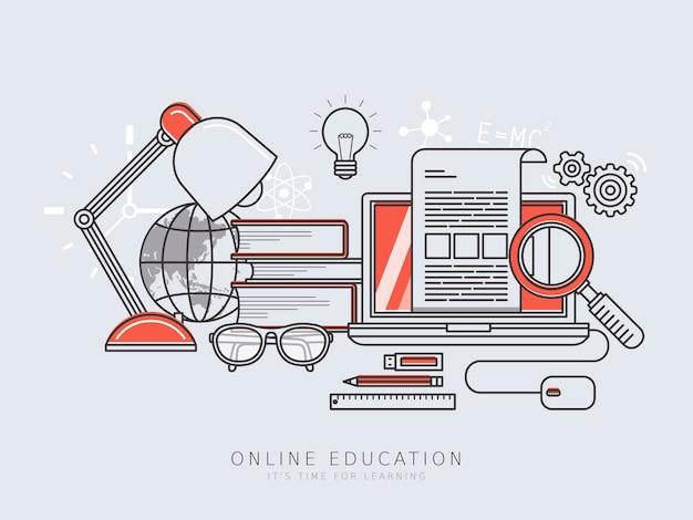 Concepto de educación en línea en estilo de línea fina