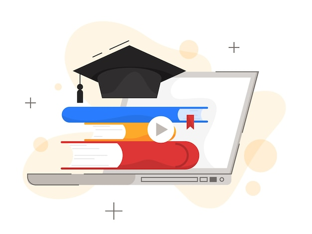 Concepto de educación en línea. formación digital y aprendizaje a distancia. e-learning y concepto de tecnología moderna. obtenga conocimientos en línea usando la computadora. ilustración