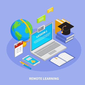 Concepto de educación en línea con ilustración isométrica de símbolos de aprendizaje remoto