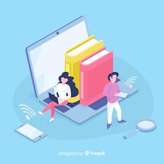 Concepto de educación en línea isométrica