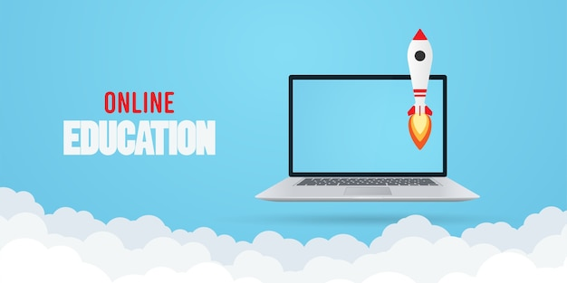 Concepto de educación en línea. laptop con cohete.