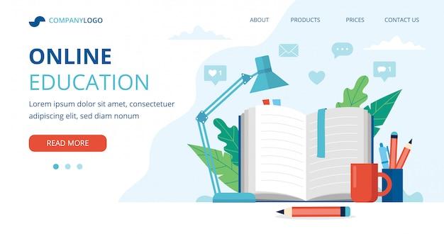 Concepto de educación en línea con un libro abierto, lámpara, bolígrafos y lápices.