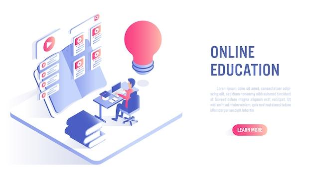 Concepto de educación en línea. llamado a la acción o plantilla de banner web