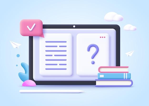 Concepto de educación en línea páginas del libro y signo de interrogación ilustración realista 3d