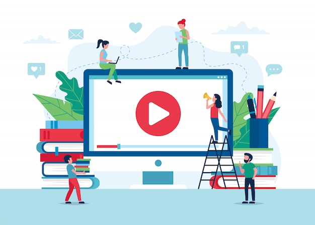 Concepto de educación en línea, pantalla con video, libros y lápices.