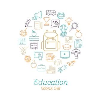 Concepto de educación de línea redonda para volver a la escuela
