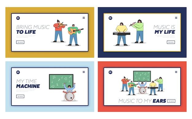 Concepto de educación musical. conjunto de página de destino del sitio web.