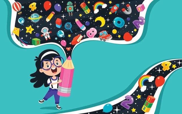 Concepto de educación para niños de la escuela divertida