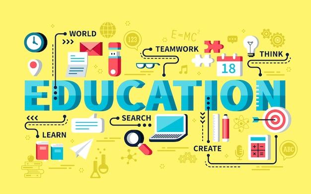 Concepto de educación, palabras de educación con elemento de papelería