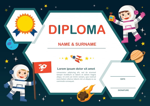 Concepto de educación preescolar. certificado diploma de niños, fondo de espacio de diseño de plantilla de jardín de infantes.