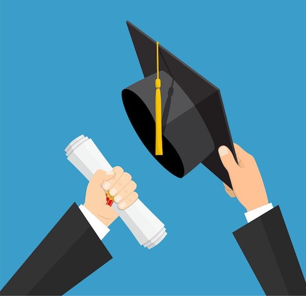 Concepto de educación. sombrero de graduación y diploma con sello y cinta en manos del estudiante. ilustración vectorial en estilo plano