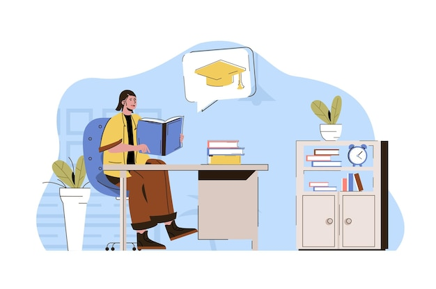 Concepto de educación superior el estudiante lee el libro de texto se prepara para los exámenes finales