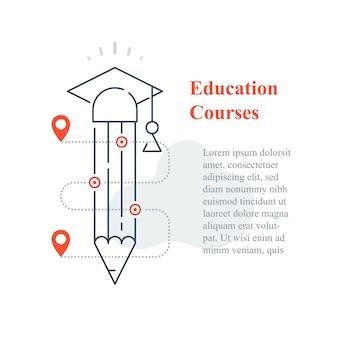 Concepto de educación, universidad en línea, aprendizaje a distancia