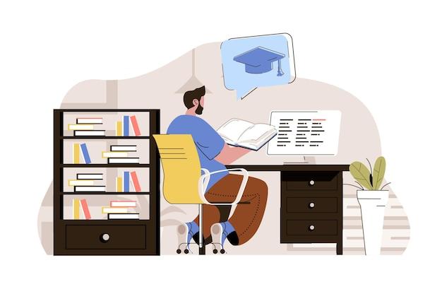 Concepto de educación universitaria estudiante lee el libro preparándose para los exámenes finales