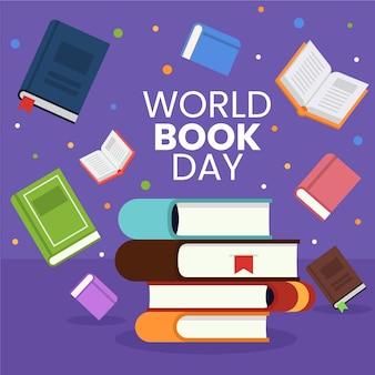 Concepto educativo del día mundial del libro de diseño plano