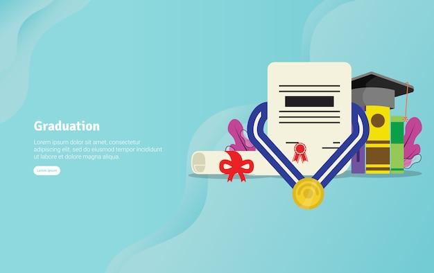 Concepto educativo de la graduación bandera de la ilustración