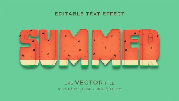 Concepto de efecto de texto editable verano sandía