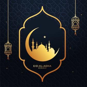 Concepto de eid-al-adha mubarak con golden crescent moon, una estrella, mezquita y linternas colgantes sobre fondo azul árabe.