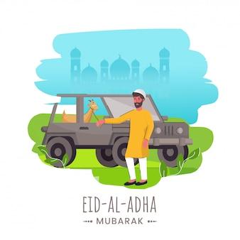 Concepto de eid-al-adha mubarak con el hombre musulmán que sostiene la cuerda de la cabra que se coloca en jeep y el fondo abstracto de la mezquita de la silueta.