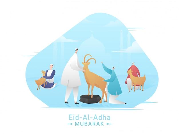 Concepto de eid-al-adha mubarak con hombres musulmanes con cabras de dibujos animados y mezquita de silueta azul sobre fondo blanco.