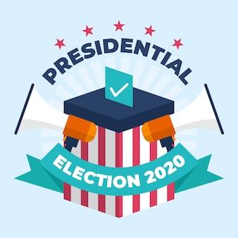 Concepto de elección presidencial estadounidense de 2020 con megáfonos