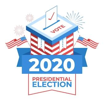 Concepto de elección presidencial estadounidense ilustrado de 2020