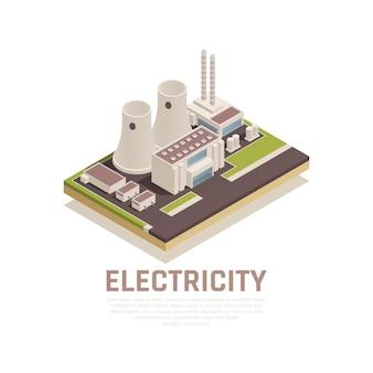 Concepto de electricidad con construcción de plantas y símbolos de la industria isométrica