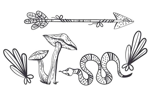 Concepto de elemento de diseño de bruja boho
