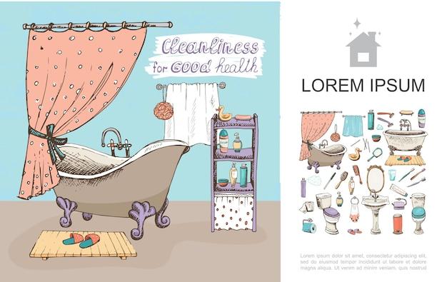 Concepto de elementos de baño de bosquejo