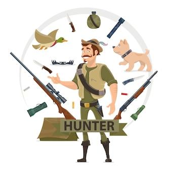 Concepto de elementos de caza colorido