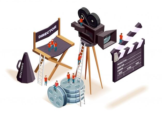 Concepto de elementos de cine isométrico