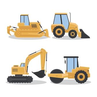 Concepto de elementos de colección de excavadora