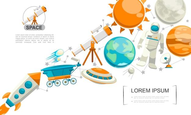 Concepto de elementos de espacio plano con telescopio cohete planetas tierra y marte satélite ovni sol luna cometas rover lunar