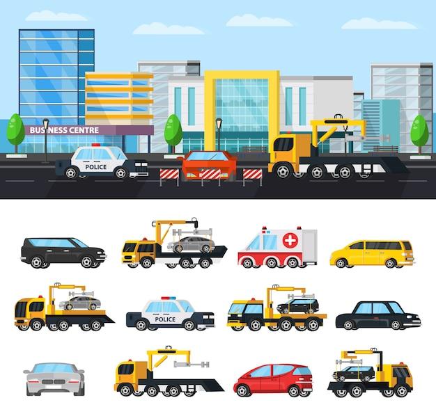 Concepto de elementos de evacuación de automóviles