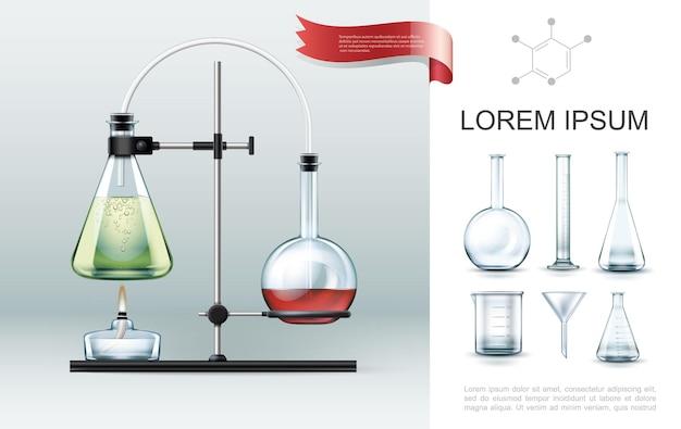 Concepto de elementos de experimento de laboratorio realista con tubos de ensayo, quemador de alcohol, vaso de precipitados, embudo y matraces de diferentes formas