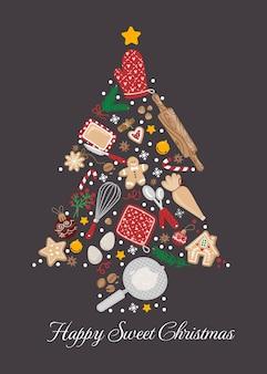 Concepto de elementos para hornear de navidad en composición cuadrada utensilios de cocina
