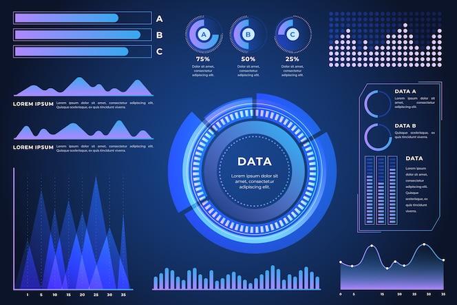 concepto de elementos de infografía futurista
