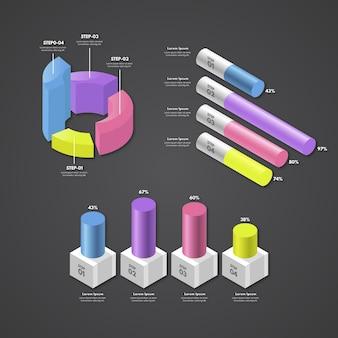 Concepto de elementos de infografía isométrica.