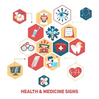 Concepto de elementos médicos y de salud.