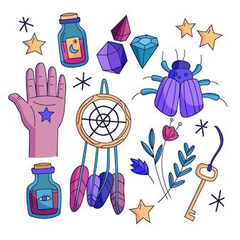 Concepto de elementos místicos esotéricos