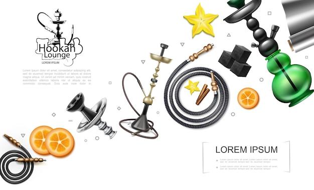 Concepto de elementos de narguile realista con pipas tubos narguiles rodajas de naranja cubos de carbón anís estrellado de aluminio