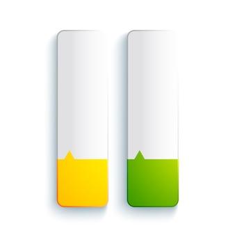 Concepto de elementos rectangulares web abstracto con pancartas verticales en blanco en colores amarillo y verde aislado