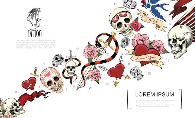 Concepto de elementos de tatuaje dibujados a mano